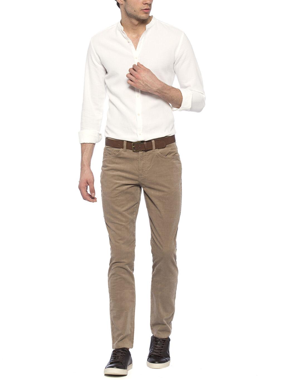 Erkek Bej Normal Bel Dar Pilesiz Pantolon