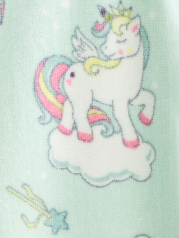 %100 Pamuk Unicorn Desenli Kadife Çocuk Bornoz