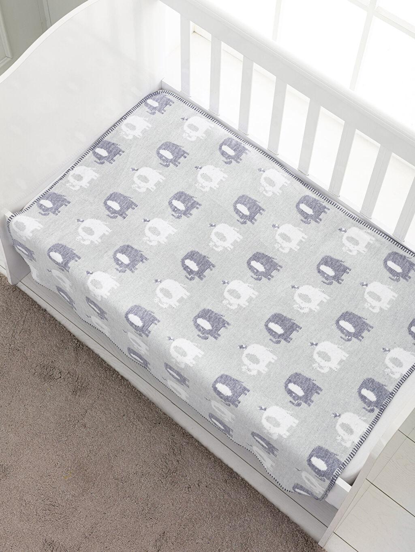 %53 Pamuk %5 Poliester %32 Akrilik %10 Viskoz Orta Kalınlık Bebek Battaniyesi Kendinden Desenli Bebek Battaniye