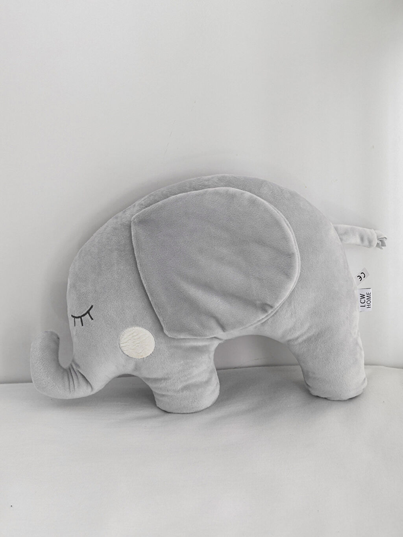 %100 Polyester Pelüş Bebek Kırlent Nakışlı Peluş Fil Kırlent