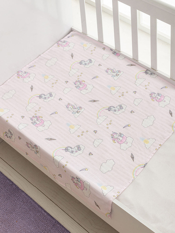 %100 Pamuk %100 Pamuk İnce Baskılı Bebek Battaniyesi Kız Bebek Battaniye