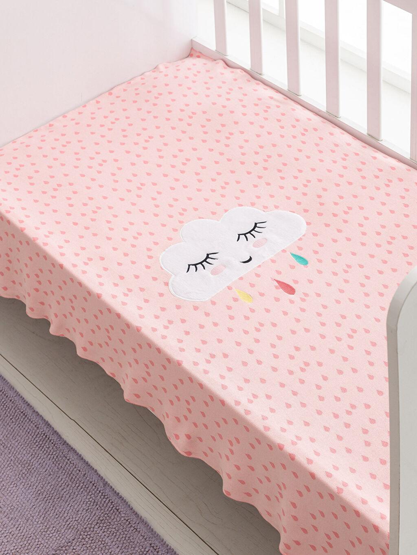 %100 Pamuk Orta Kalınlık Bebek Battaniyesi Triko %100 Pamuk Kız Bebek Nakış Detaylı Triko Battaniye