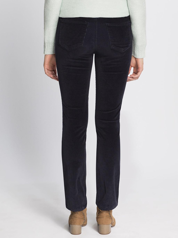 %98 Pamuk %2 Elastan Yüksek Bel Esnek Standart Pantolon Lacivert Yüksek Bel Esnek LCWAIKIKI Basic Pantolon