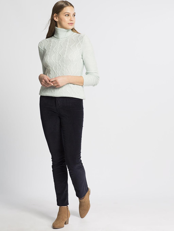 Kadın Lacivert Yüksek Bel Esnek LCWAIKIKI Basic Pantolon