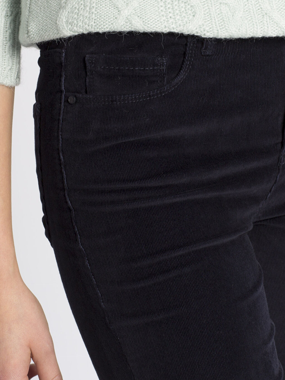 %98 Pamuk %2 Elastan Lacivert Yüksek Bel Esnek LCWAIKIKI Basic Pantolon