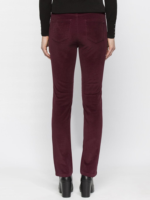 %98 Pamuk %2 Elastan Yüksek Bel Kadife Standart Pantolon Bordo Yüksek Bel Esnek LCWAIKIKI Basic Pantolon