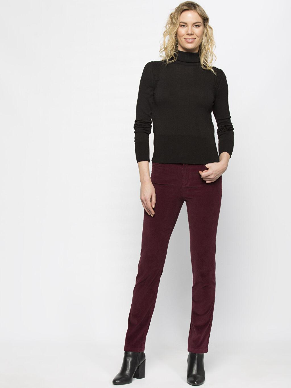 Kadın Bordo Yüksek Bel Esnek LCWAIKIKI Basic Pantolon