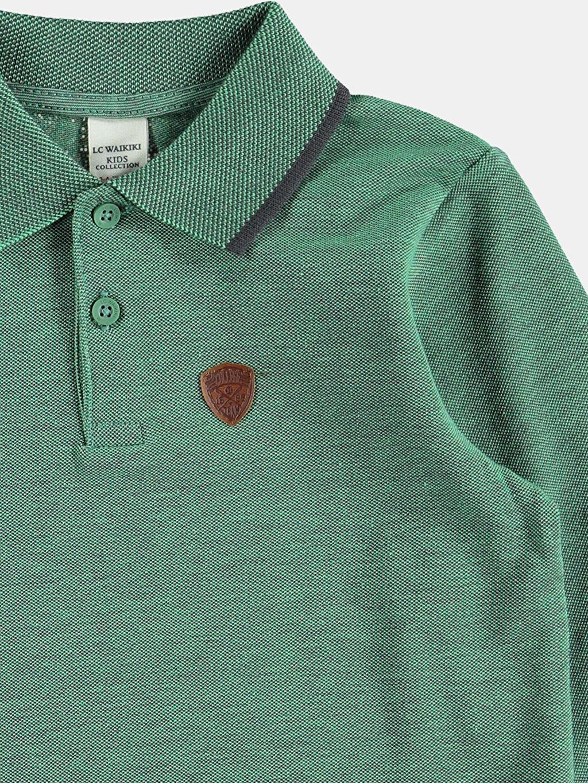 %100 Pamuk Tişört Polo Yaka Düz Standart Yeşil Düz Normal Polo Tişört