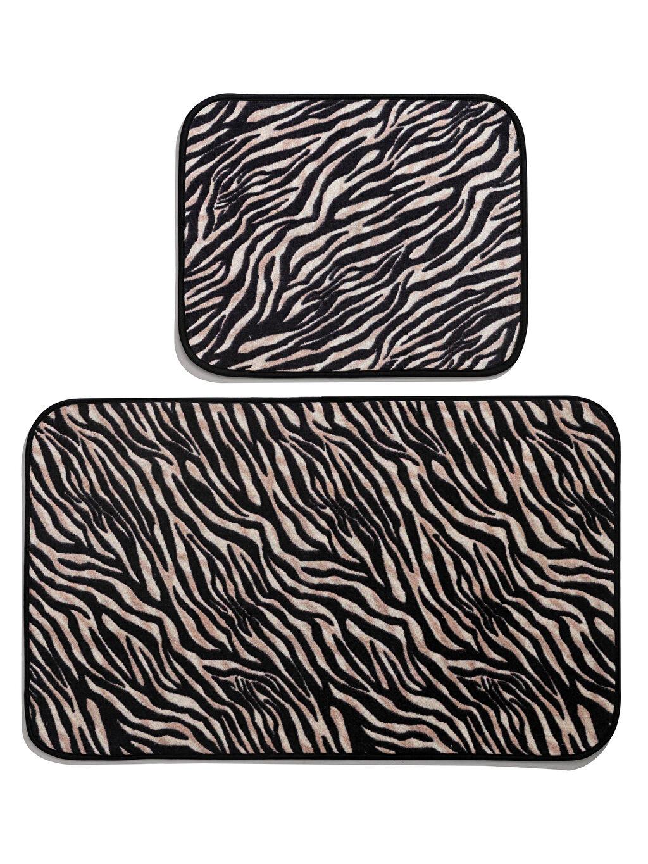 %100 Polyester Banyo Paspası Zebra Baskılı Banyo Paspası 2'li