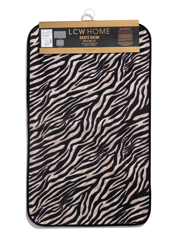 %100 Polyester Zebra Baskılı Banyo Paspası 2'li