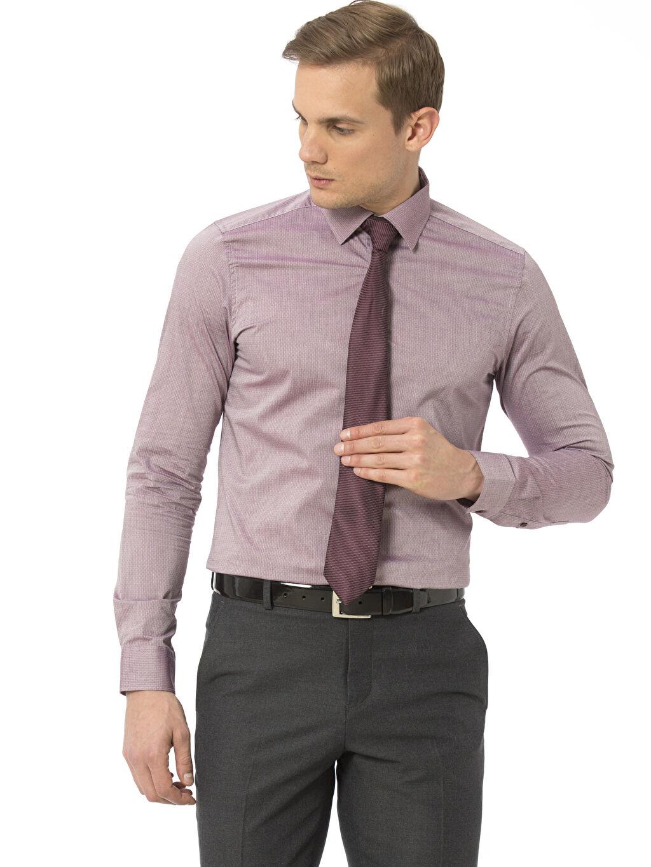 Bordo Slim Fit Armürlü Uzun Kollu Poplin Gömlek 7KI609Z8 LC Waikiki