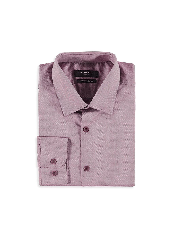 %100 Pamuk Gömlek Yaka Baskılı Dar Uzun Kol Gömlek Slim Fit Armürlü Uzun Kollu Poplin Gömlek