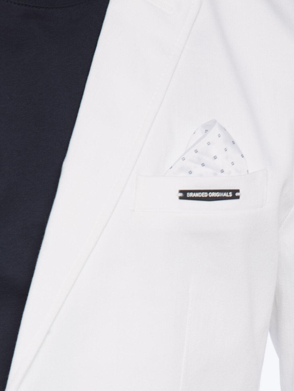 Beyaz Dar Kalıp Blazer Ceket