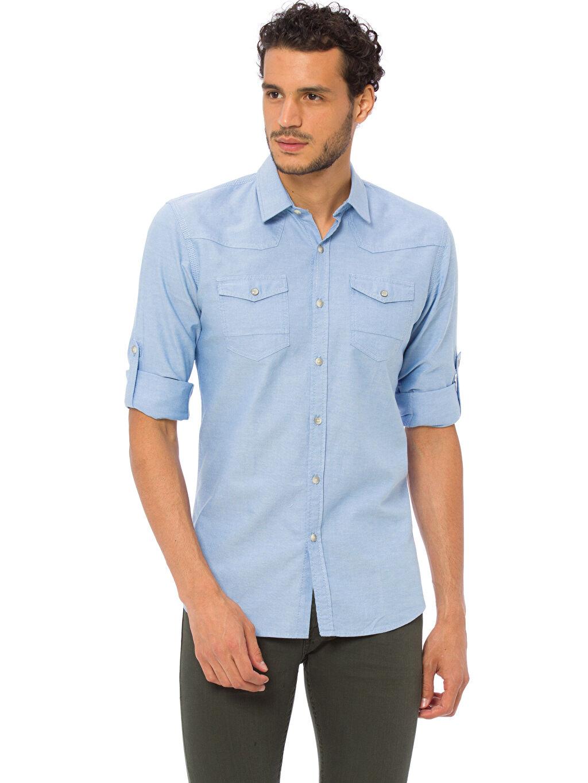 Mavi Extra Slim Fit Kalıp Uzun Kollu Gömlek 7K0494Z8 LC Waikiki