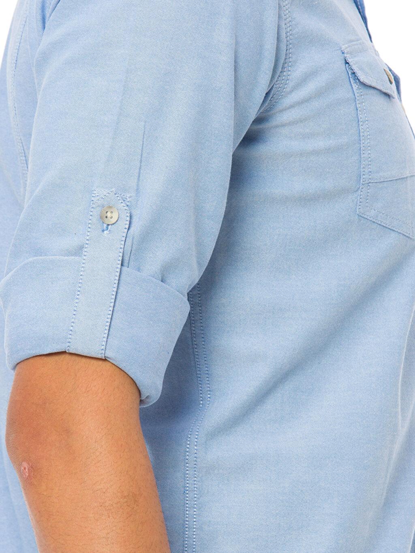 %100 Pamuk Extra Slim Fit Kalıp Uzun Kollu Gömlek
