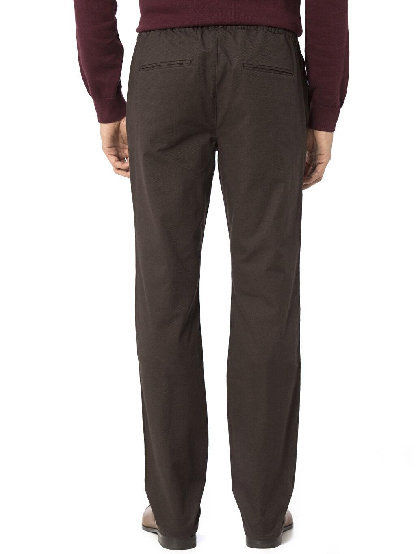 %98 Pamuk %2 Elastan Standart Normal Bel Pantolon Düz Gabardin Aksesuarsız Rahat Kesim Lastikli Bel Gabardin Pantolon