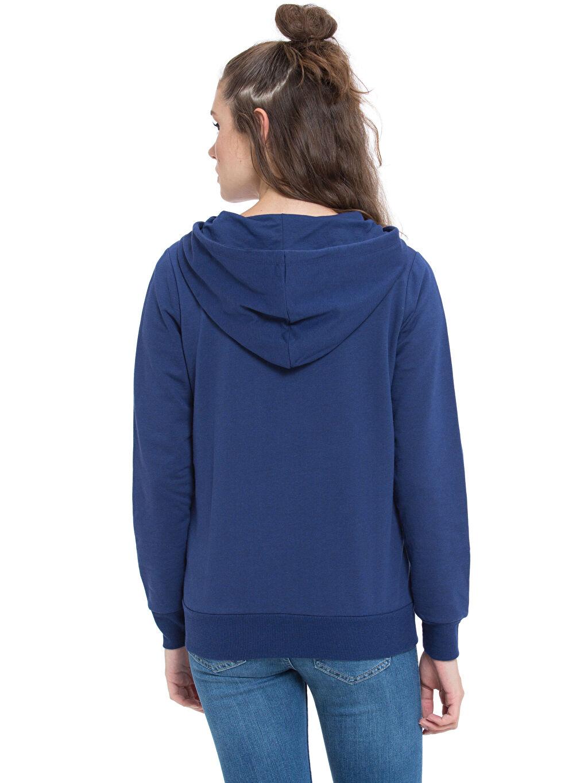 %53 Pamuk %47 Polyester Spor Hırka Kapüşonlu Fermuarlı Sweatshirt