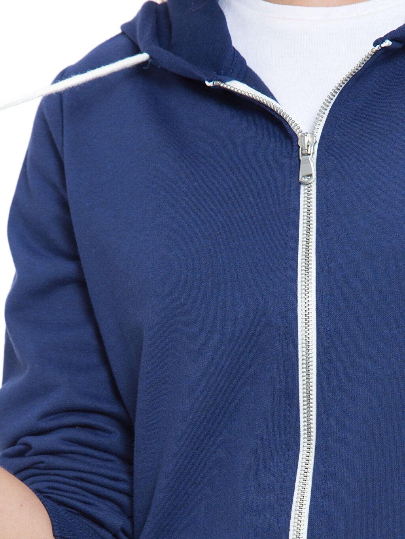 %53 Pamuk %47 Polyester Kapüşonlu Fermuarlı Sweatshirt