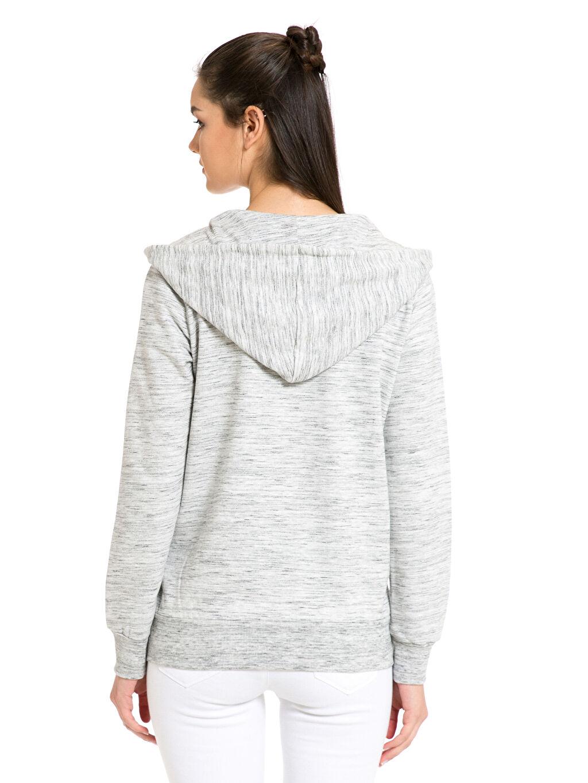 %64 Pamuk %36 Polyester Spor Hırka Kapüşonlu Fermuarlı Sweatshirt