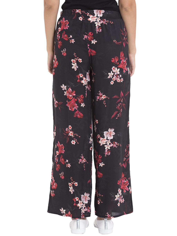 %100 Viskoz Pantolon Geniş Paça Yüksek Bel Standart Desenli Bol Pantolon