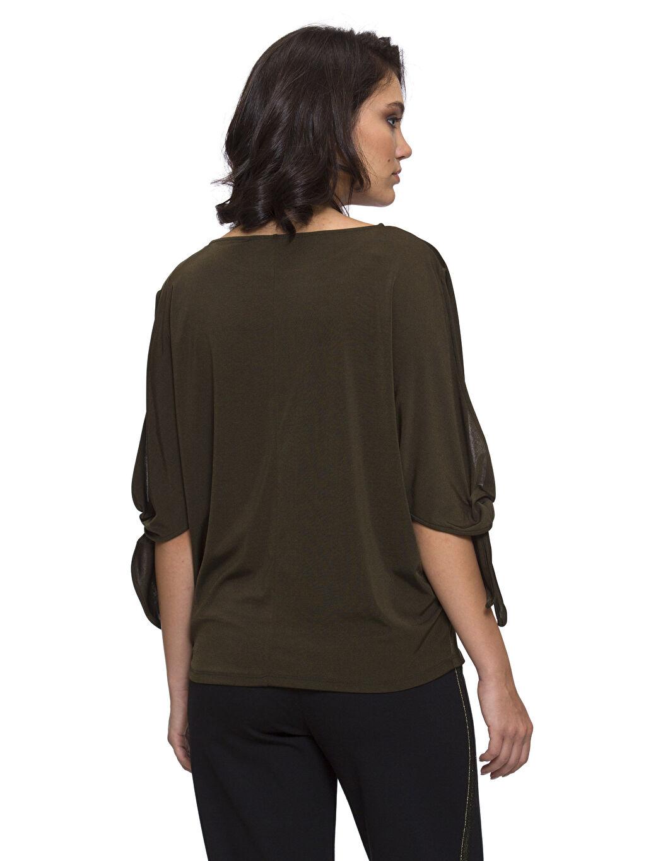%94 Poliester %6 Elastane Salaş Tişört Kolları Bağlama Detaylı Bluz