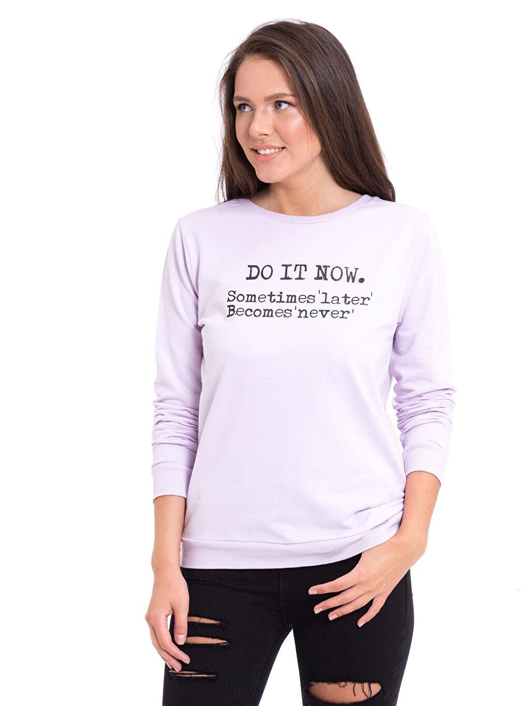 Lila Yazı Baskılı Sweatshirt 7KG538Z8 LC Waikiki