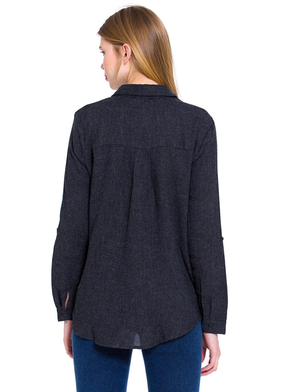 %20 Polyester %80 Viskon Uzun Kol Düz Gabardin Düğmeli Gömlek Yaka Gömlek Gabardin Gömlek