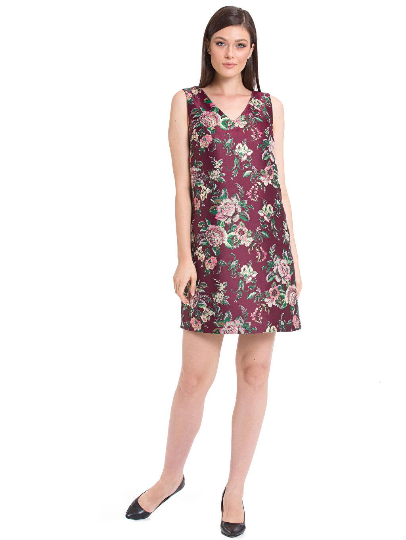 %92 Polyester %8 Metalik iplik Çiçekli Günlük Elbise Kolsuz Çiçek Desenli Mini Elbise