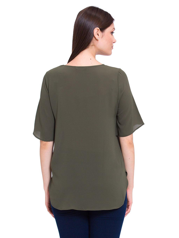 %98 Polyester %2 Elastan Kısa Kol Patsız Bluz Düz Krep Bluz