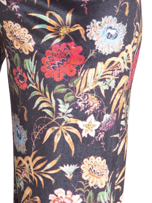 LC Waikiki Siyah Çiçek Desenli Kadife Hamile Pantolon