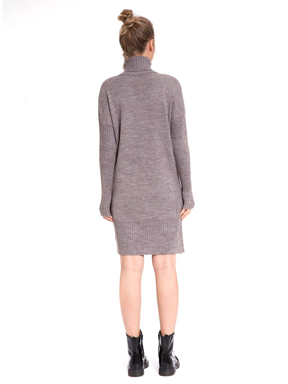 %89 Akrilik %11 Poliamid Elbise Şal Yaka Günlük Uzun Kol Düz Balıkçı Yaka Triko Elbise