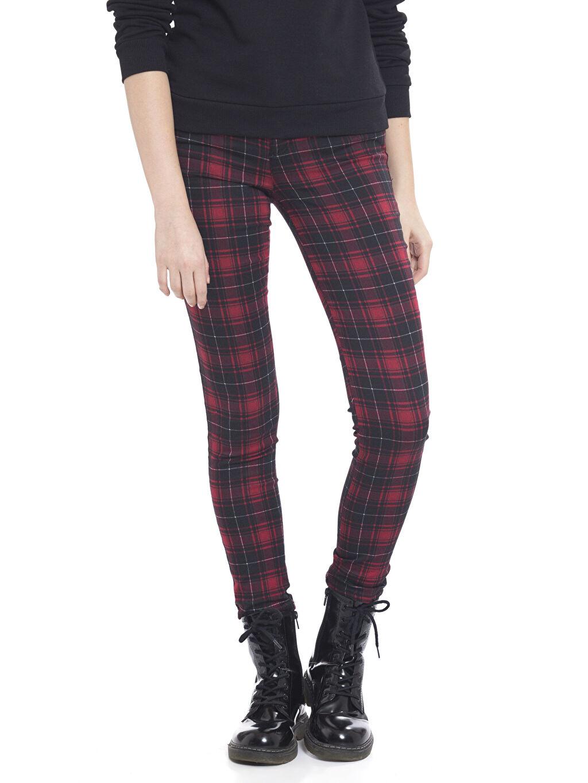 %70 Pamuk %26 Polyester %4 Elastan Normal Bel Dar Pantolon Ekose Pantolon
