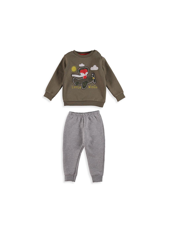 Haki Erkek Bebek Resim Baskılı Eşofman Takımı 7K1449Z1 LC Waikiki