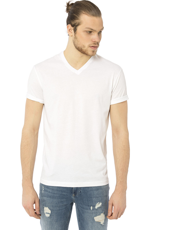 Beyaz V Yaka Kısa Kollu Pamuklu Tişört 8S0917Z8 LC Waikiki