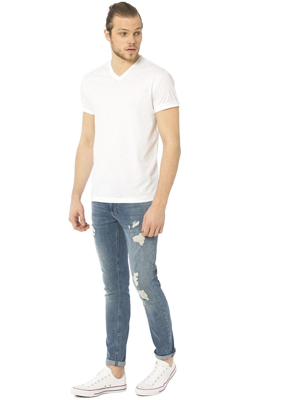 Erkek V Yaka Kısa Kollu Pamuklu Tişört