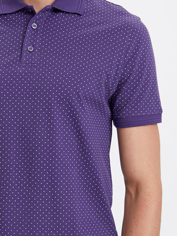 %100 Pamuk Desenli Polo Yaka Kısa Kollu Pamuklu Tişört