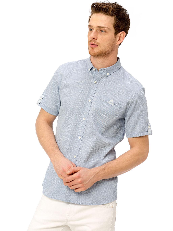 Mavi Slim Fit Kısa Kollu Armürlü Gömlek 8S4526Z8 LC Waikiki
