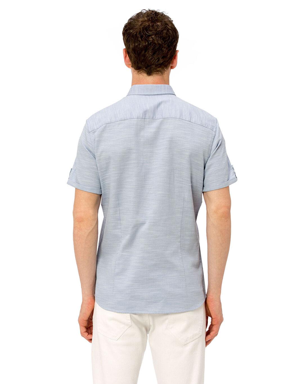 %100 Pamuk Gömlek Dar Patlı Kısa Kol Düz Düğmeli Gömlek Yaka Slim Fit Kısa Kollu Armürlü Gömlek