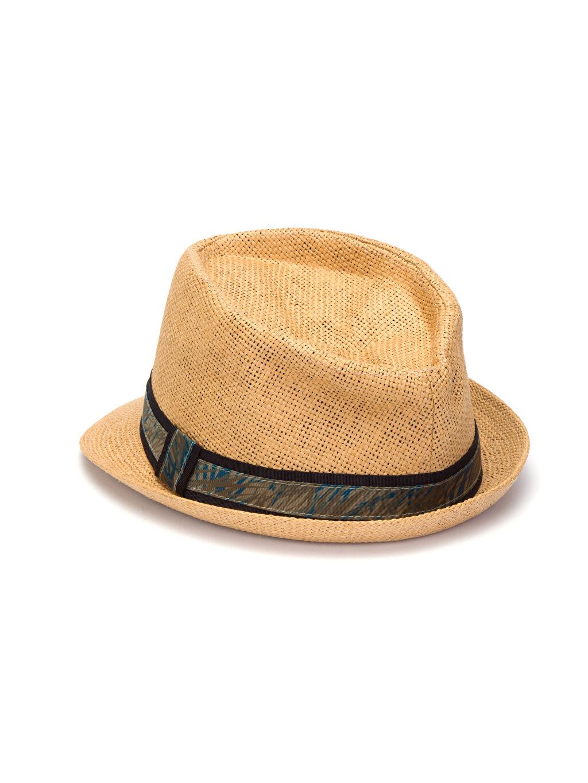 %100 Kağıt %100 Polyester Şapka Bant Detaylı Fötr Şapka