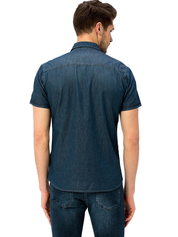 %100 Pamuk %100 Pamuk Jean Gömlek Gömlek Yaka Dar Kısa Kol Western Düz Kısa Kollu Jean Gömlek