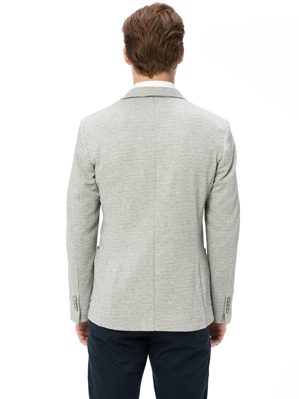 %98 Polyester %2 Elastan Blazer Ceket Yarım Astar Baskılı Dar Dar Kalıp Blazer Ceket