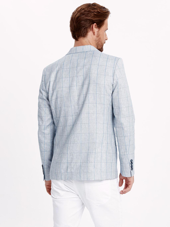 %37 Poliester %44 Keten %19 Vıscose %100 Polyester %100 Polyester Düz Blazer Ceket Standart Yarım Astar Ekose Keten Karışımlı Blazer Ceket