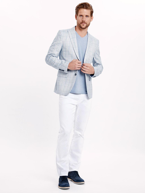Erkek Ekose Keten Karışımlı Blazer Ceket