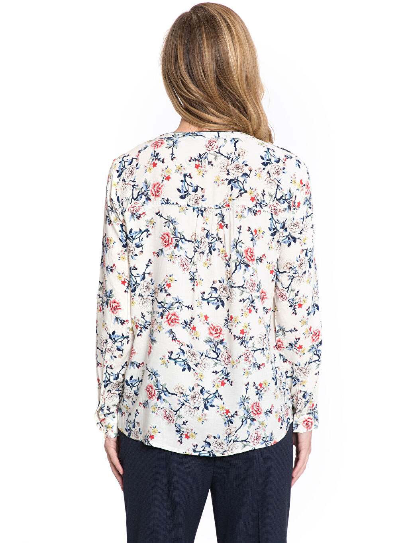 %100 Viskoz Baskılı Vual Bluz Uzun Kol Yarım Pat Desenli Vual Bluz