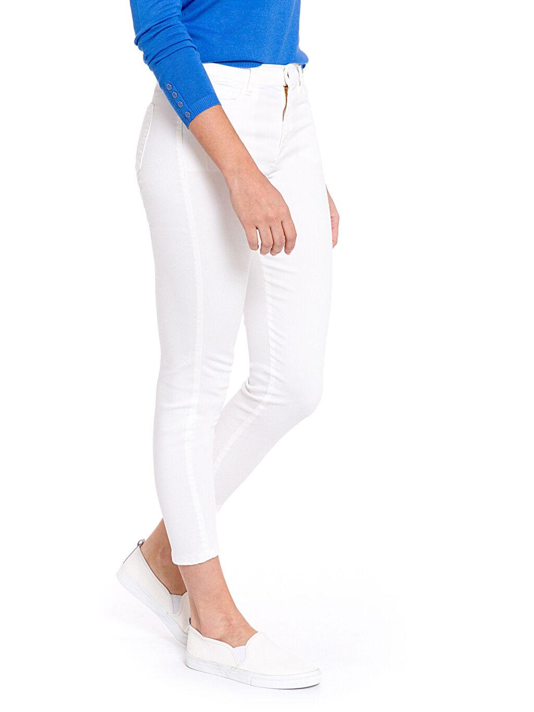 %65 Pamuk %30 Polyester %5 Elastan Standart Normal Bel Pantolon Düz Bilek Boy Bilek Boy Pantolon