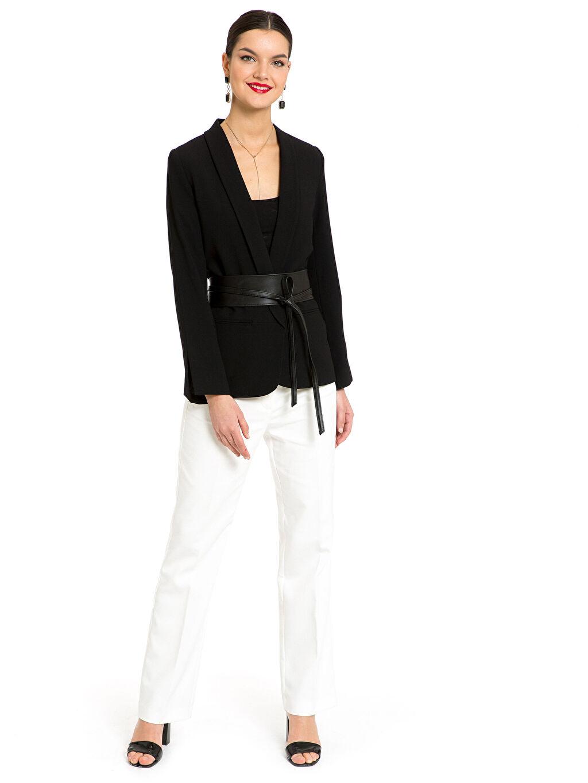 Kadın Kol Ucu Yırtmaç Detaylı Oversize Ceket