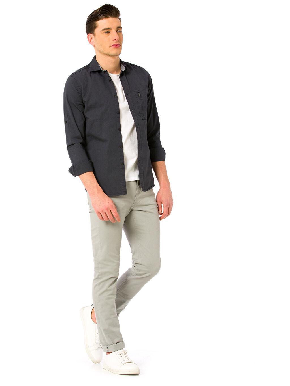 Gri Super Skinny Gabardin Pantolon 8S1062Z6 LC Waikiki