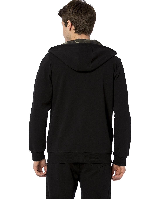 %83 Pamuk %17 Polyester Baskılı Spor Hırka Fermuarlı Kapüşonlu Sweatshirt