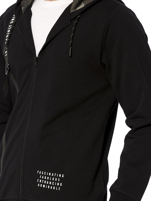 %83 Pamuk %17 Polyester Fermuarlı Kapüşonlu Sweatshirt