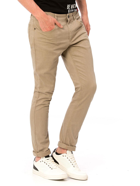Normal Bel Dar Pantolon Gabardin Beş Cep Aksesuarsız Slim Gabardin Pantolon
